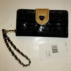 Betsey Johnson celly wallet black and gold